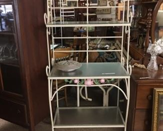 Metal bakers rack with glass shelves 225. Or offer