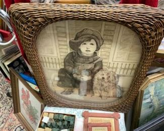 PAIR of reverse  painted signed , pictures, 3D effect, old wicker frames, PAIR - 145.00
