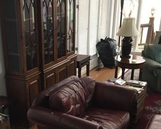 Bernhardt  RED Leather oversize chair and ottoman. Curio Cabinet, small table RUG etc