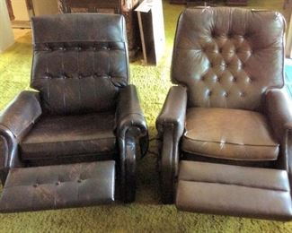 MVF003 Pair Of Vintage Brown Leather-Like Recliner Chairs