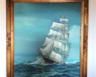 MVF005 Original Framed Painting Of Ship At Sea