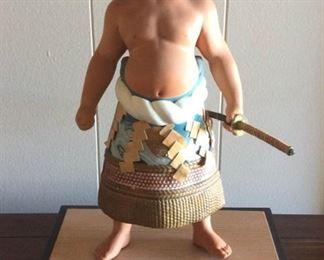 MVF007 Hakata Urasaki Porcelain Samurai Doll On Wooden Stand