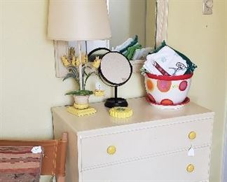 Mid century chest, mirror, metal floral lamp, red and white flower pot