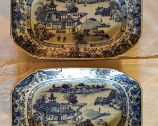 Pair of antique Asian porcelain platters, from the Qianlong Period, 1736-1795.