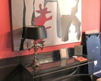 Large Art, Console Table and Lamp