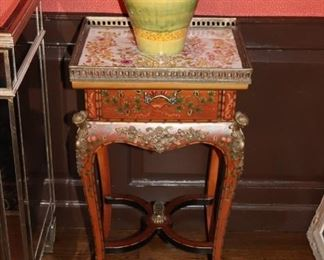 Inlaid and Stenciled Side Table with Ormolu, Tray and Colorful Vase