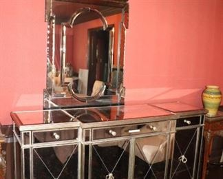 Mirrored Cabinet and Mirror