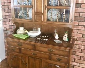 Step back china cabinet & porcelain collectibles
