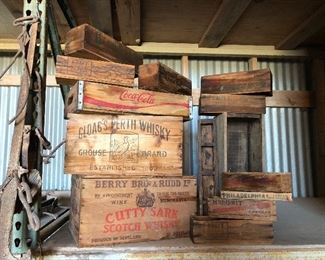Vintage assorted wood crates and containers