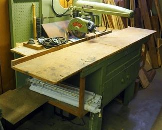 """DeWalt, Model BF, Radial Arm Saw With Carpenter's Bench, Bench Measures 52"""" x 81"""" x 31"""""""