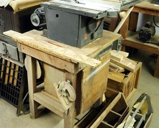 """Tomlee Tool, Model 37, Table Saw With 8"""" Blade And Dayton 1/2 HP Motor, Powers On"""