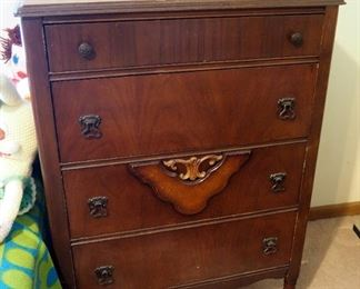 """Antique Solid Wood Four Drawer Chest Of Drawers, 44"""" x 28.5"""" x 18.5"""""""