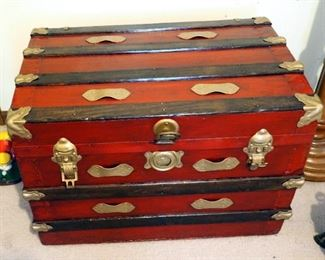 Refinished Antique Travel Trunk With Metal Hardware, Includes Inner Tray