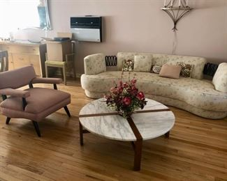Retro MCM sofa & pair of armchairs & Teak& marble coffee table