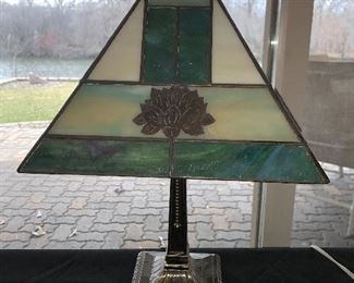 "Stain glass lamp. 17"" tall $20.00"