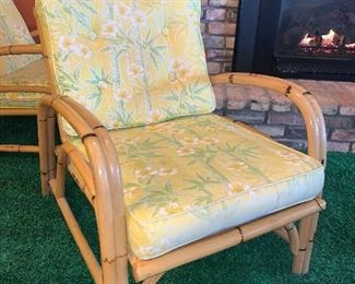 Bamboo framed chair with cloth cushions. Cushions have some areas of tears. 2 available  $20.00