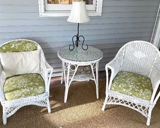 """White wicker arm chairs and accent table  Table is 27"""" tall and  27"""" in diameter  Chairs = SOLD  Table = $85"""