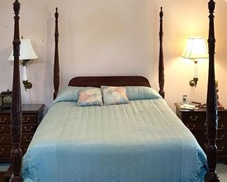 """Link-Taylor mahogany queen size 4 poster bed - comes with mattress, base and step stool  36"""" tall to top of mattress 85"""" tall to top of poster 62"""" wide 88"""" deep $400"""