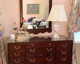 """Link-Taylor mahogany 17 drawer chest with mirror Chest 36"""" tall, 50"""" wide, 20.5"""" deep Mirror 28"""" x 48"""" $350"""