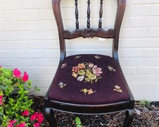 Needlepoint bottom side chair
