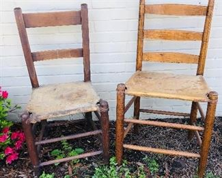 2 hide bottom chairs. Pierce chair on the right
