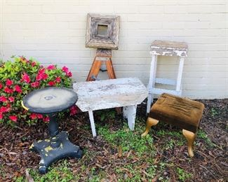 Primitive bench, table, wooden step ladder, architectural pieces, cast iron ottoman