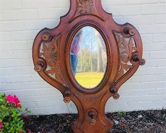 Victorian hall mirror with hat/coat hangers