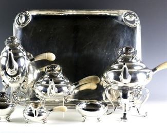 "Georg Jensen ""Blossom"" pattern Sterling Silver teaset"