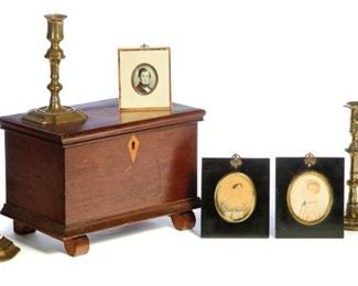 Brass Candlesticks Miniature Blanket Chest Miniature Portraits to sell March 28, 2020 Garths Country Americana Auction