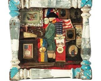 Patriotic American Flag Washington ShadowBox Folk Art to sell March 28, 2020 Garths Country Americana Auction