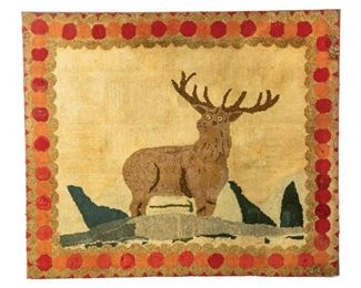 Stag from Hooked Rug Collection to sell March 28, 2020 Garths Country Americana Auction