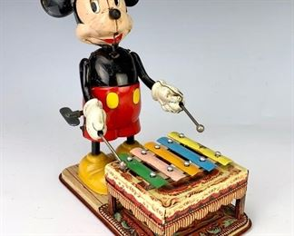 Mickey Mouse Xylophone Tin Lithograph Wind Up Toy