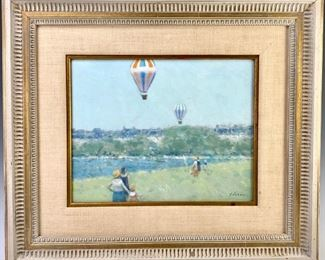 """Andre Gisson (1921-2003) """"Balloons Near The River"""""""