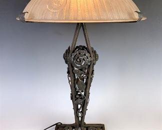 Art Deco Signed Daum Nancy & Iron Table Lamp