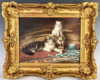 """Jules LeRoy (France 1833-1865) """"Cats on Cat"""""""