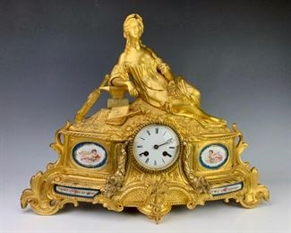 Louis XV Gilt Bronze Figural Mantel Clock