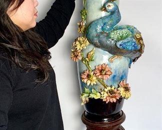 Monumental Antique Majolica Peacock Floor Vase