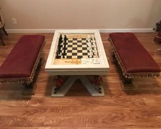 Incredible unusual antique Chess/Checker table with 2 stools