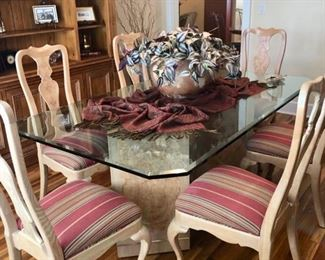 "$750 HENREDON glass top dining set with marble two piece base & beveled glass & & 6 chairs MEASURES: 44"" x 74"""