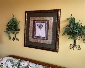 FRAMED ART - PALM TREE 2 WOOD AND METAL SHELVES WITH SILK PLANTS