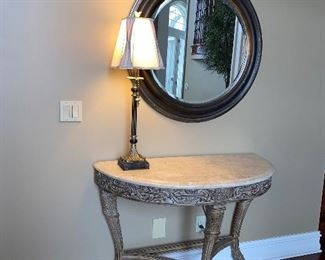 "ROUND MIRROR 36"" DIAMETER  $125 HALF MOON TABLE 44""L x 20.5"" D x 32.5"" H $200"