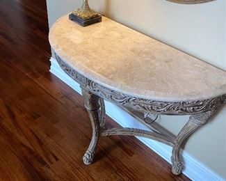 "HALF MOON TABLE 44""L x 20.5"" D x 32.5"" H $200"