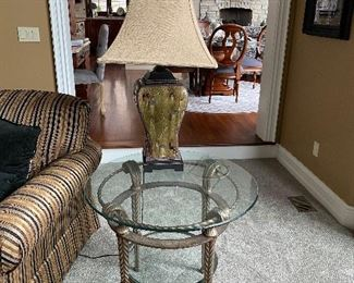 """2 ROUND METAL AND GLASS SIDE TABLES  30"""" DIAMETER x 26"""" HEIGHT  $150"""