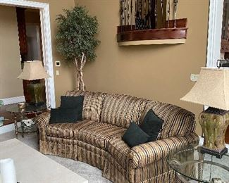 """BEAUTIFUL BROWN COPPER STRIPE 3 PILLOW CURVED SOFA COUCH BY FAIRFIELD BACKSIDE 106"""" FRONTSIDE 86"""" DEPTH 38""""  HEIGHT 37""""   $500"""