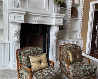 """2 CUSTOM MADE MAJESTIC BERGERE CHAIRS WITH STARWOOD MOSS FABRIC AND ANTIQUE WALNUT FINISH 31"""" W x 28.5"""" D $300 EACH"""