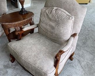 TWO UPHOLSTERED WOODEN CHAIRS $150 EACH