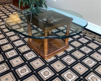 GLASS TOP WOODEN COFFEE TABLE $100