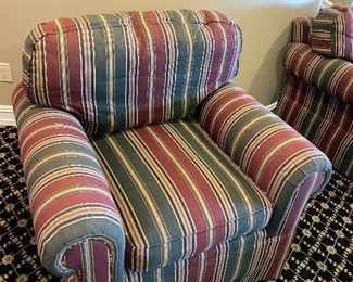 GREEN AND RED STRIPE LOUNGE CHAIRS $80 EACH