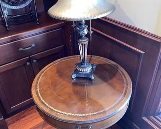 ROUND WOODEN LEATHER TOP TABLE $150