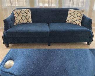 Royal Blue Tufted Nailed Sofa